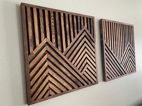 Large Geometric mountain range Art - Set of 2