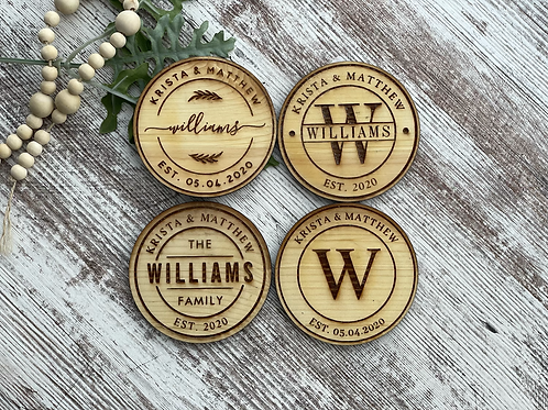 Monogrammed Oak Coasters | Set of 4