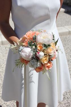 Bouquet de mariée saumoné
