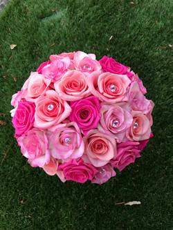 Bouquet de mariée avec roses et strass