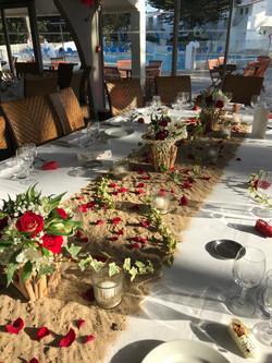 Table d'honneur au Punta Lara : chemin de sable