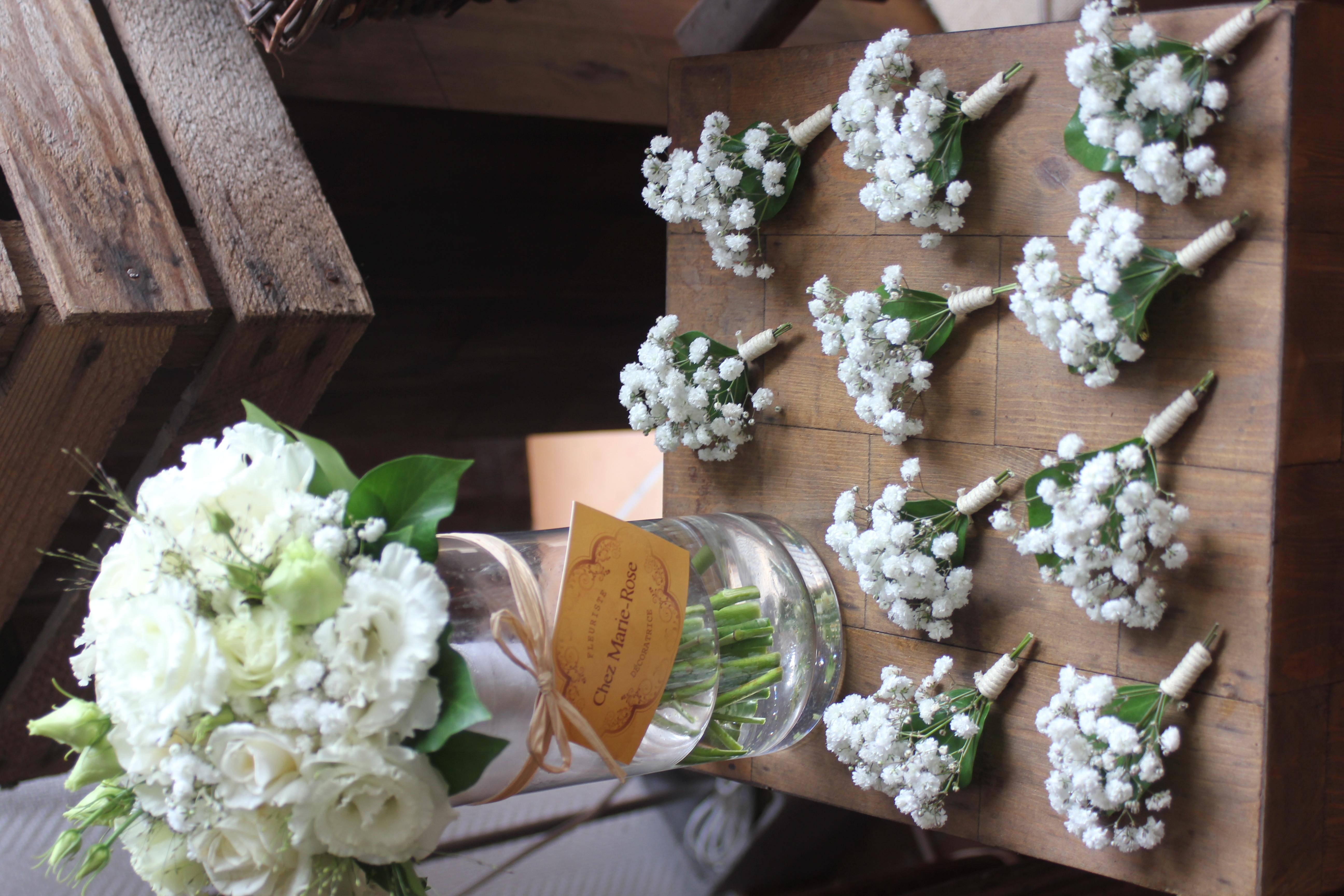 Bouquet de mariée et boutonnières