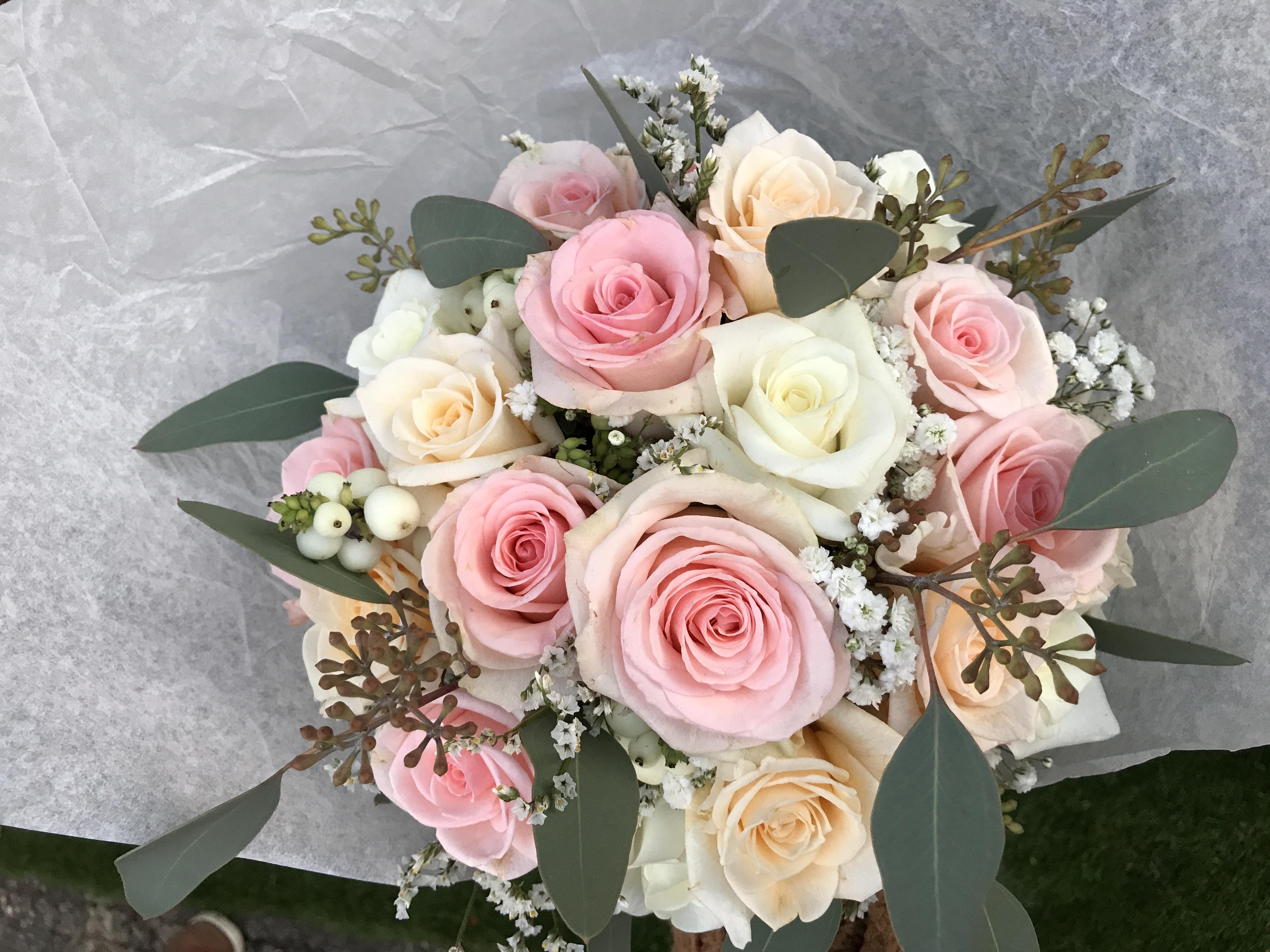 Bouquet de mariée rose poudré