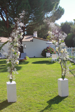 Arche à l'hôtel Fleur de Sel : branchages avec gypsophile et roses