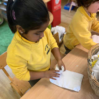 The children use hand towels rather than disposible paper, the children help with the replenishment of the towels for the rest of the session.