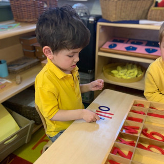 Large Movable Alphabet allows the child to word build before they are able to write the words.