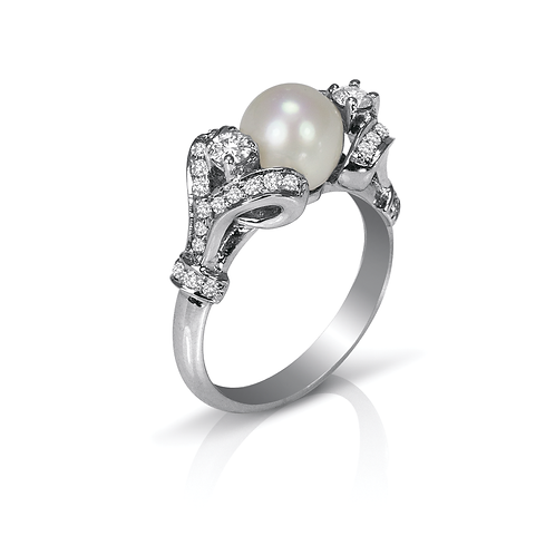 Samantha's Pearl and Diamond Ring
