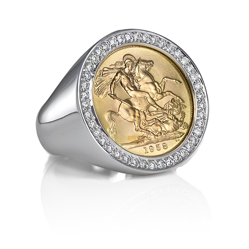Sovereign coin ring (22k yellow gold) with white brilliant cut diamonds (0.84ct) in 18k white gold with family name filigree