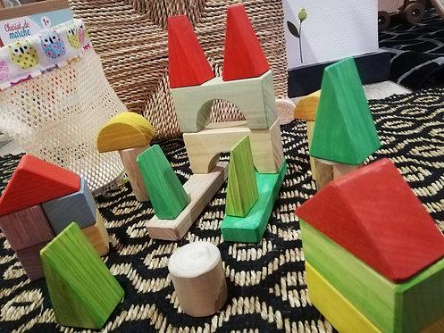 SIMPLEMENT BOIS  - 30 blocs de construction+sac