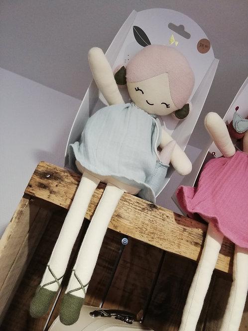 FABELAB -  Grande poupée de chiffon bleue