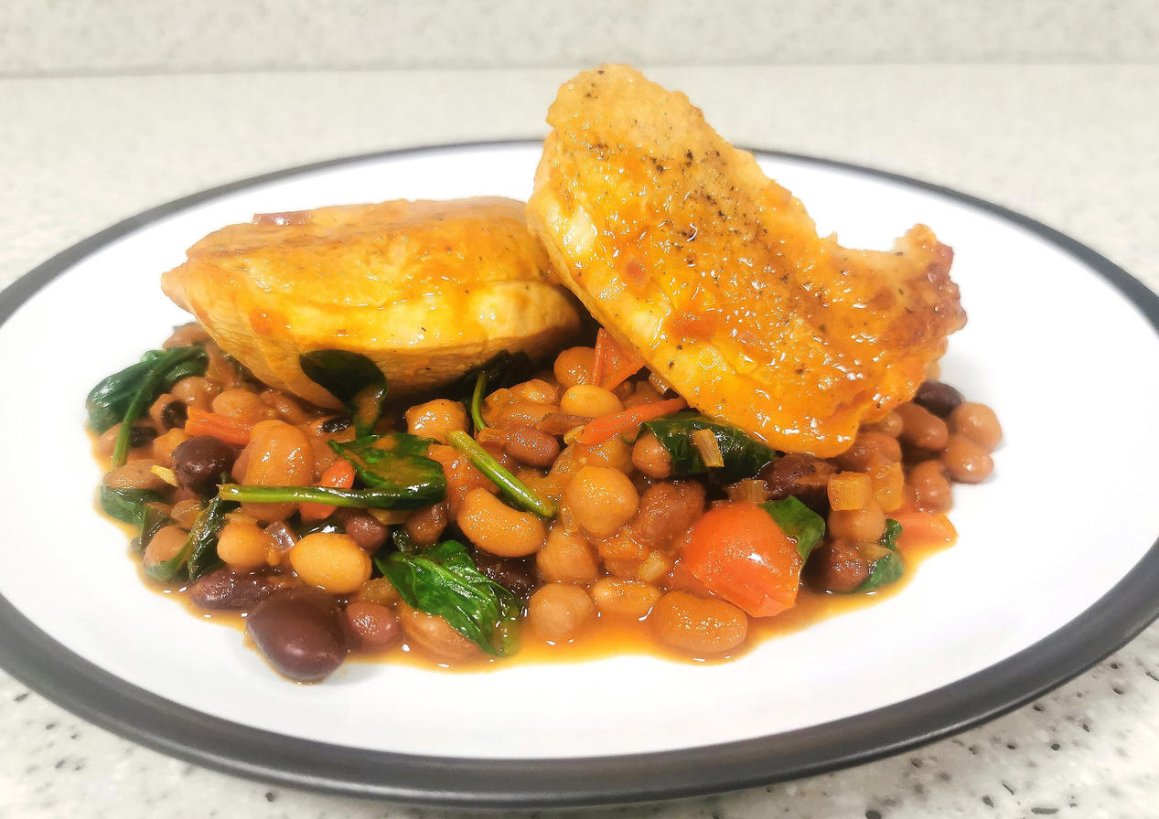 Chicken thighs with bean cassoulet