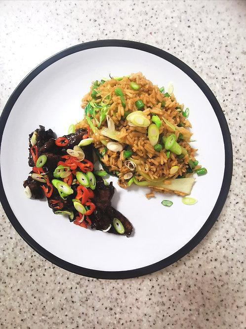 Crispy beef with chilli soy glaze