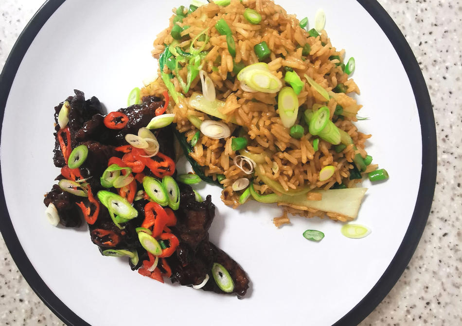 Crispy beef with chilli soy glaze and fried rice