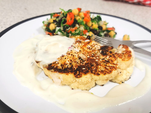 Vegan Middle Easton cauliflower steak with balela salad for 4