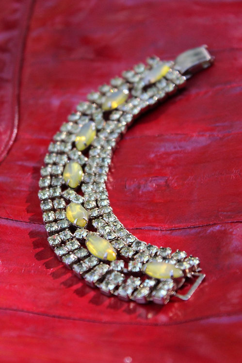 Yellow Rhinestone Cuff