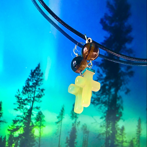 Jade cross and tiger eye necklace