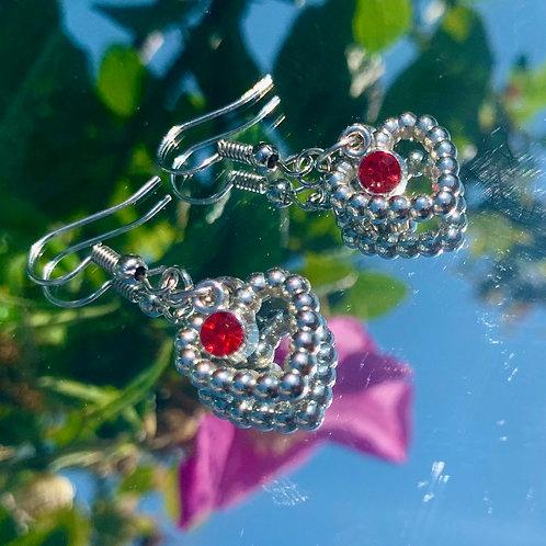 Ruby heart earrings