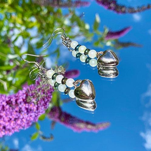 Rainbow hematite  heart earrings