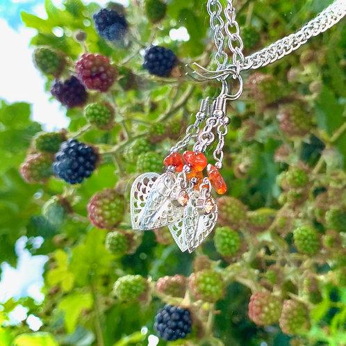 Carnelian leaf earrings