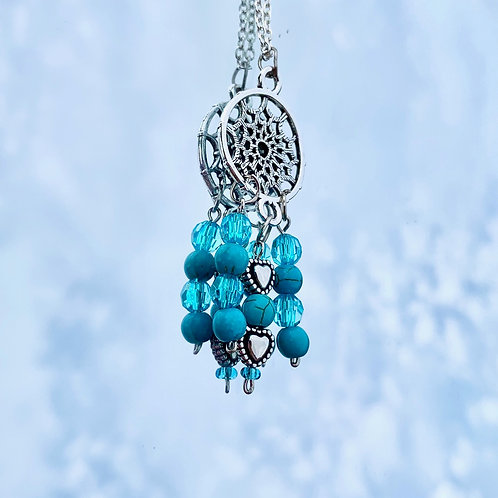 Turquoise dreamcatcher necklace