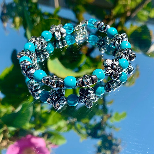 Turquoise daisy chain bracelet