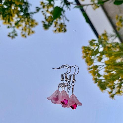 Pink lotus earrings