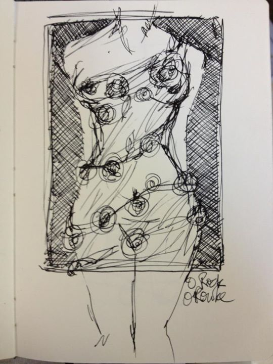 Nude sketch - bound by roses