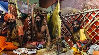 Naga Baba demonstrate their votes on the night of Maha Kumbh Mela in Allahabad in 2013