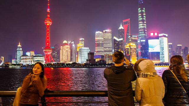 Evening in front of the Pudong financial district of China and Shanghai