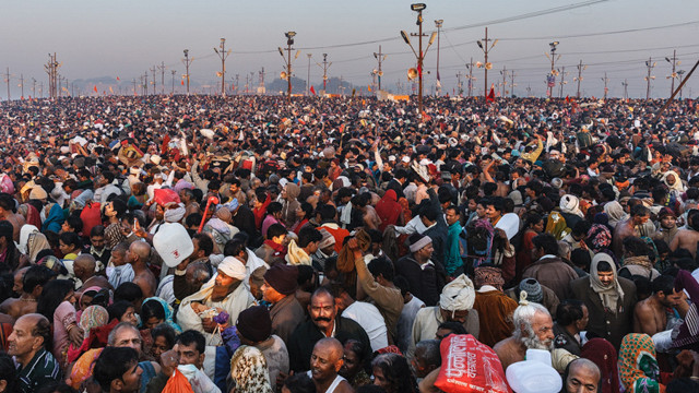Maha Kumbh Mela in Allahabad 2013 was attended by about one hundred million people, six million in the morning of this photo, the most important day of the whole festival