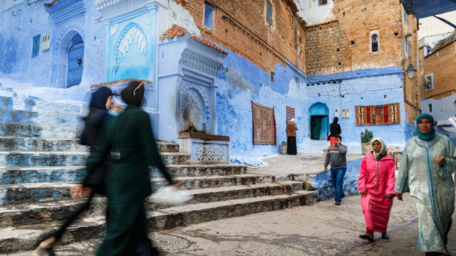 "The evening of the medina of Chefchaouen the ""blue city"""