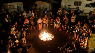 Songs and guitars and dancing in a gypsy camp in the countryside of the Camargue - France