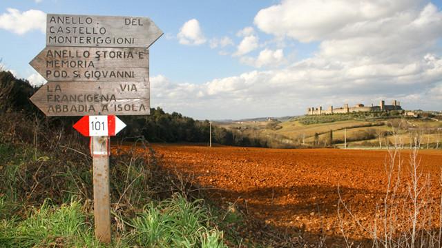 Via Francigena sign near Monteriggioni