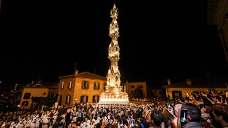 Christian procession of the Holy Macchina di Santa Rosa in Viterbo - The transport is immaterial UNESCO