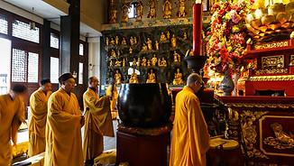 Monks praying in Shanghai