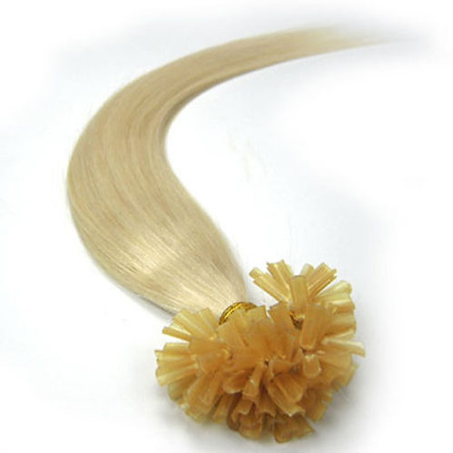 White Blonde U-Tip Human Hair Extensions