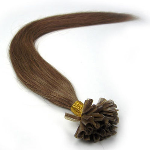 Medium Golden Brown U-Tip Human Hair Extensions
