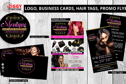 Logo, Business Cards, Hair Tags, Promo Flyer by iZiggy Promotions