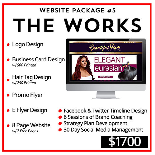 Hair Branding Website Package #4 : The Works by iZiggy Promotions