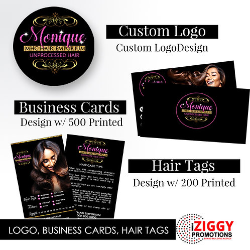 Custom Logo, Business Cards w/500 Printed, Hair Tags w/250 Printed by iZiggy Promotions