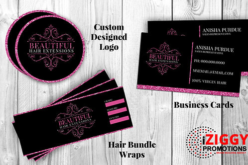 Custom Logo Design, Business Cards and Hair Bundle Wraps by iZiggy Promotions