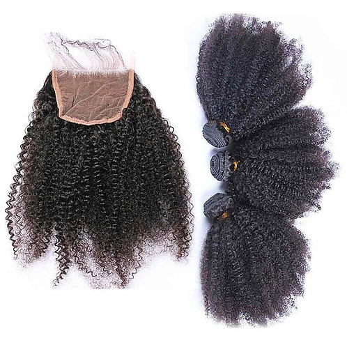 Afro Kinky Curly 3 Bundles w/ Closure