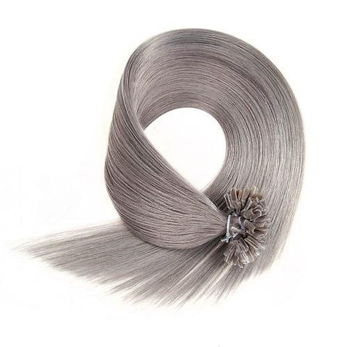 Gray U-Tip Human Hair Extensions