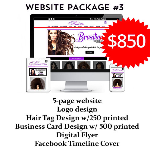 Hair Branding Website Package #3: The Plan by iZiggy Promotions