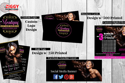 Logo, Business Cards, Hair Tags, Facebook Cover, Digital Flyer