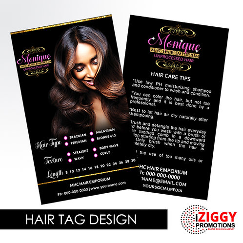 Hair Tags by iZiggy Promotions