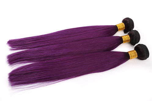 1B/Purple Ombre Straight Virgin Hair