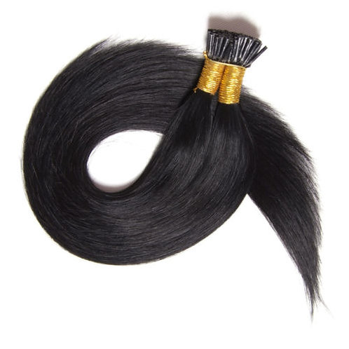Jet Black I-Tip Human Hair Extensions