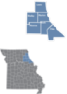 Inset map showing th locations ad counties of Region 2
