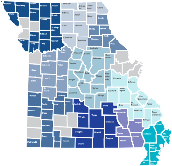 Map ofthe geographic area of the Missouri Balance of State Continuum of Care
